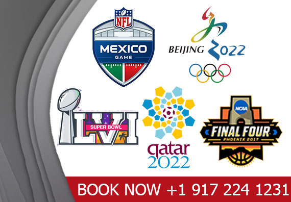 Book Worldwide Sports events like, UEFA EURO, Champions league, Super Bowl, Fifa World Cup, Summer & Winter Games Hotels & event packages