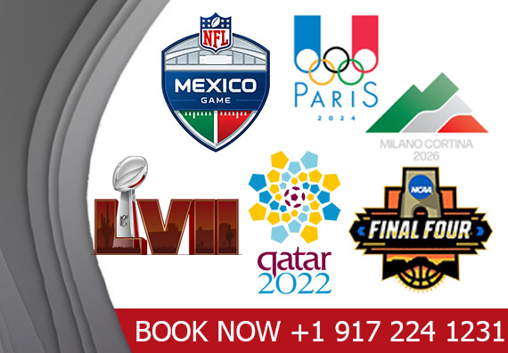 Book Worldwide Sports events like, Euro Cup, Champions league, Super Bowl, Fifa World Cup, Summer & Winter Games Hotels & event packages