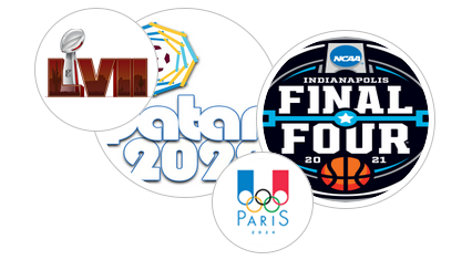 Book major events, Superbowl LII, FIFA World cup 2014, Summer Games 2020, NCAA Final Four 2015