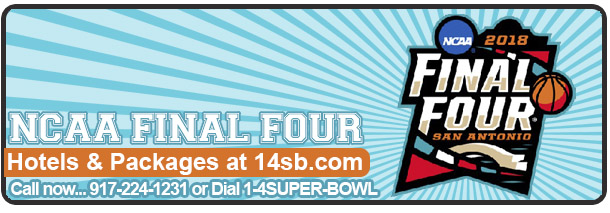 Book Hotels and Packages for NCAA Final Four Book now our early bird specials! Click here for more info!