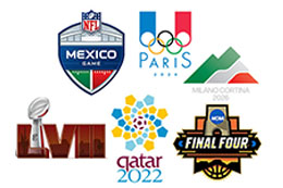 Book major events, Superbowl XLIX, FIFA World cup 2014, Summer Games 2016 Rio, NCAA Final Four 2015
